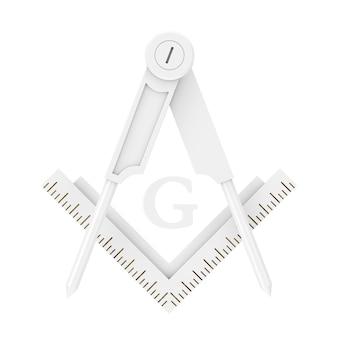 Масонское масонство квадрат и компас с символом эмблемы эмблемы буквы g в стиле глины на белом фоне. 3d рендеринг