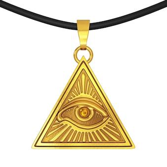 Масонский символ концепции. всевидящее око внутри треугольника пирамиды как кулоновский амулет на белом фоне. 3d-рендеринг.