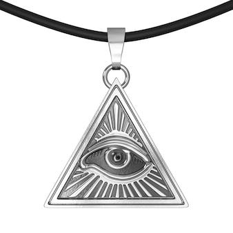 フリーメーソンのシンボルの概念。白い背景の上のクーロンのお守りとしてピラミッドの三角形の内側のすべてのシーイングアイ。 3dレンダリング。