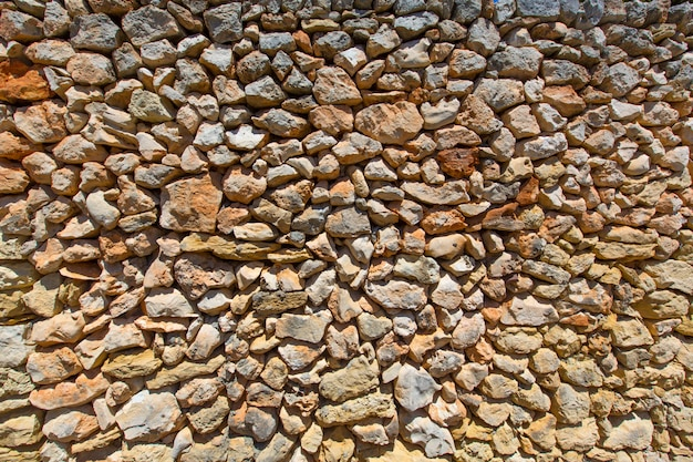 Masonry stonewall typical from mediterranean in menorca