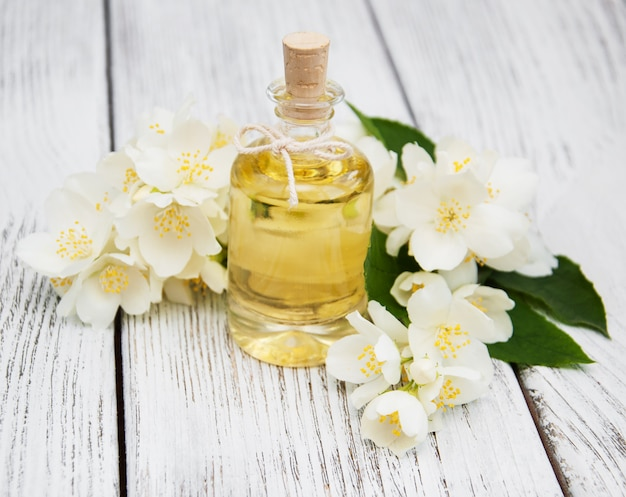 Massage oil with jasmine flowers