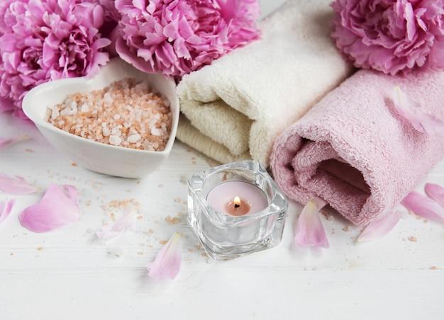 Massage salt and peony flowers