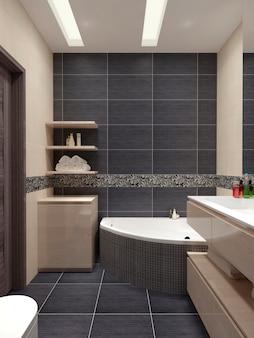 壁に黒いタイルとベージュの家具を備えたモダンなスタイルのマスターバスルーム。