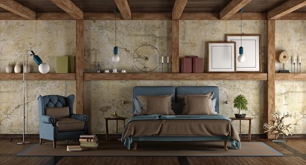 素朴なスタイルのマスターベッドルーム
