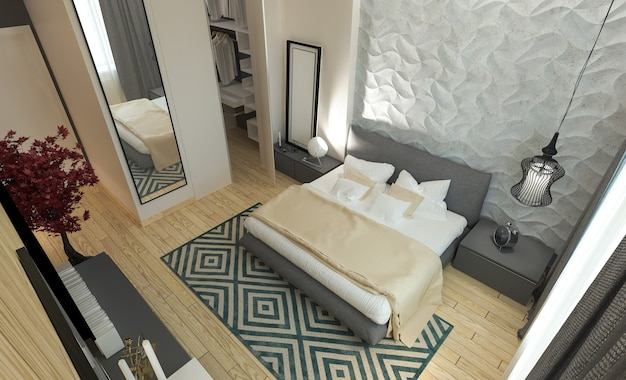 Главная спальня с гардеробной 3d панелями в современном стиле