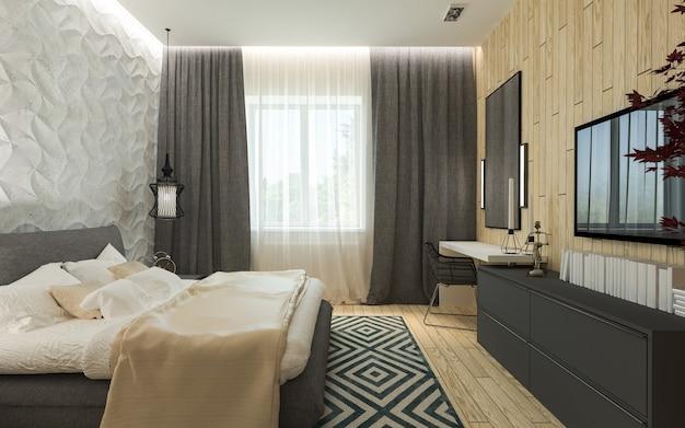 モダンなスタイルのドレッシングルーム3dパネルを備えたマスターベッドルーム