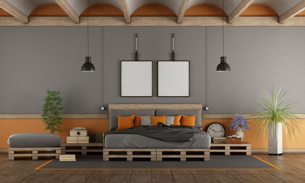 Master bedroom with pallet bed