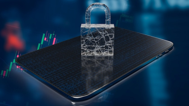 The master key on tablet for security  or business concept 3d rendering