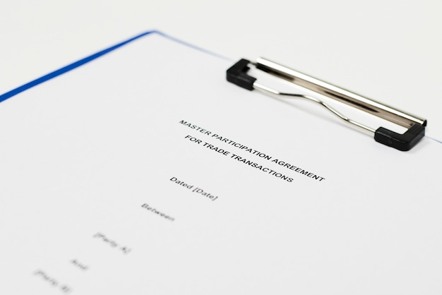 Master participation agreement for trade transactions