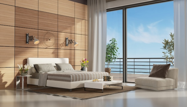 Mastre bedroom with terrace overlooking the sea