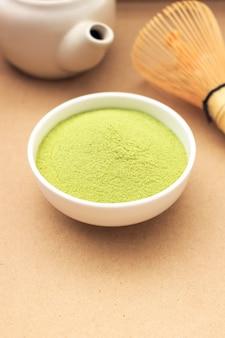 Matcha fine powdered green tea on paper texture