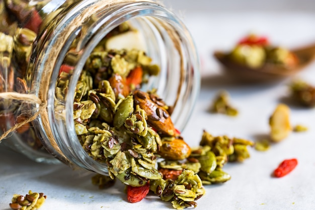 Matcha granola with flax seed,almond and goji berry