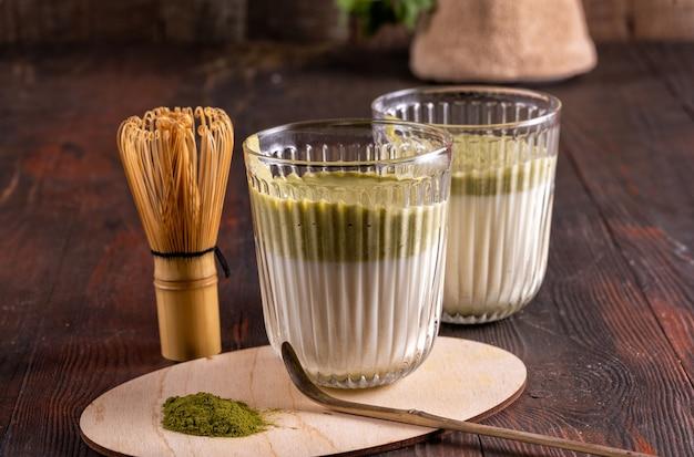 Matcha green latte tea, matcha powder and bamboo whisk on the wood background.