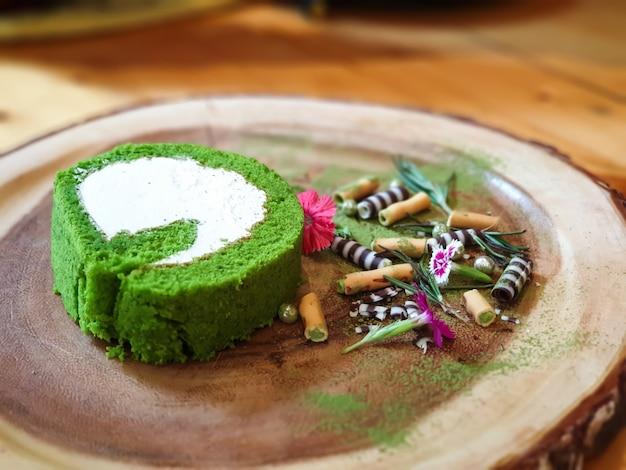 Matcha green tea cake.