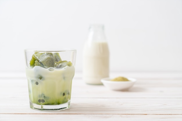 Matcha green tea ice cube with milk