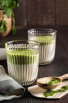 Matcha green tea latte with matcha powder