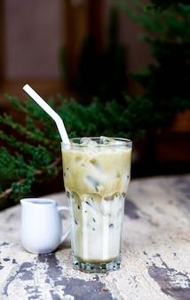 Matcha green tea with milk