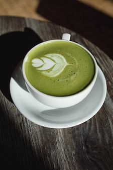 Matcha latte in a cup