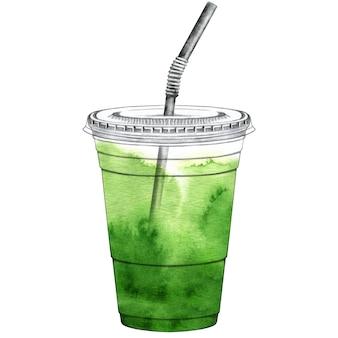 뚜껑과 빨대가있는 플라스틱 컵에 담긴 말차 라떼
