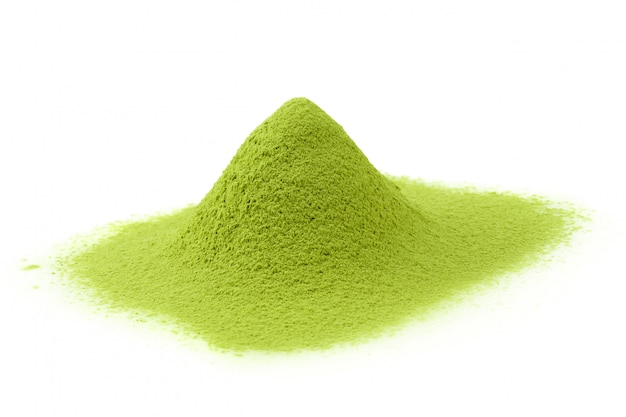 Matcha powder green tea isolated on a white background