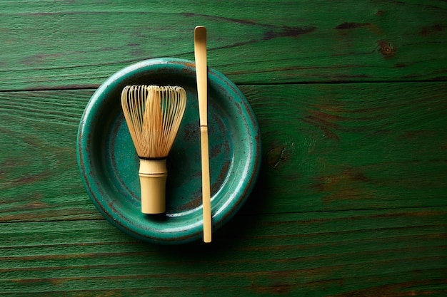 Matcha tea bamboo whisk chasen and spoon