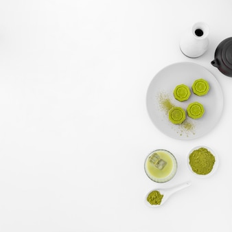 Matcha tea concept with copy space