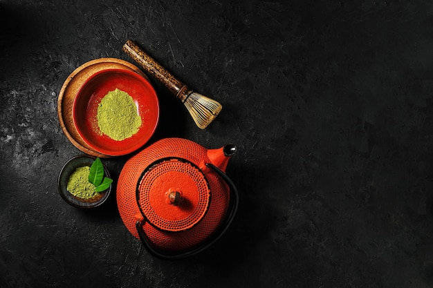 Matcha tea powder in a bowl with a kettle