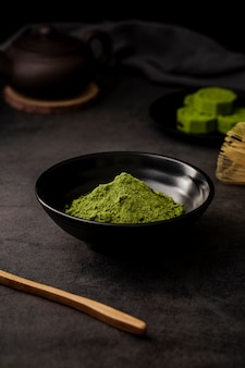 Matcha tea powder in bowl