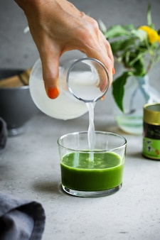 Matcha with coconut water