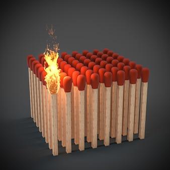 火がつくところにマッチします。差し迫った危険の概念。 3dレンダリング