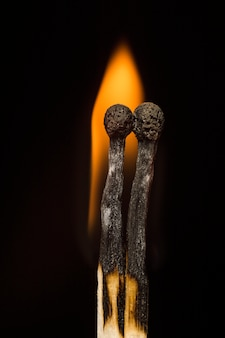 Matches on a black