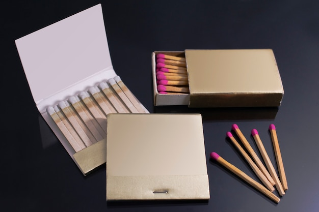 Matches book collection mockup. blank paper match box packaging