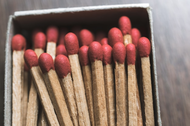 Matches in a box close up background.
