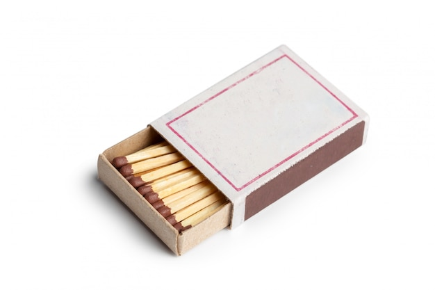 Matches isolated on white . closeup shot.