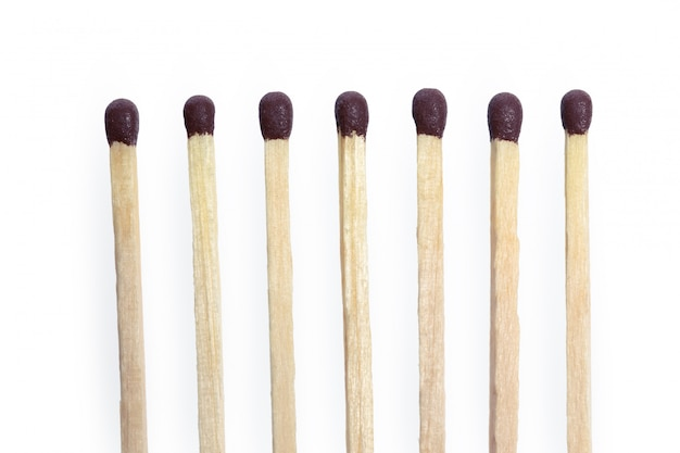 Matches isolated on white. closeup shot.