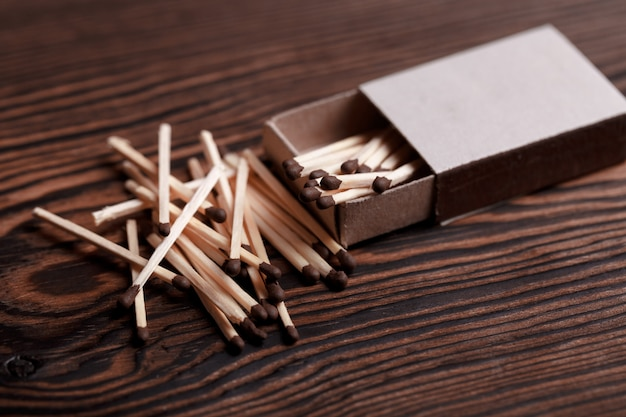 Matches in open match box