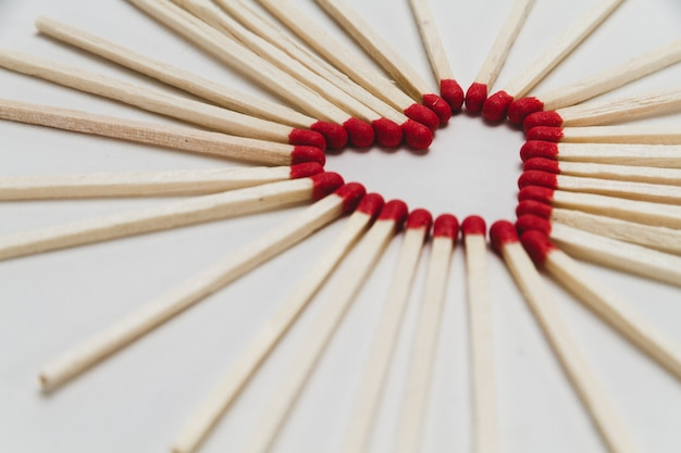 Matches set in heart shape