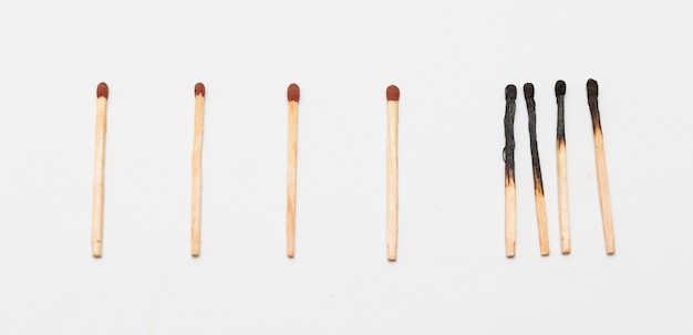 Matches with burned matches