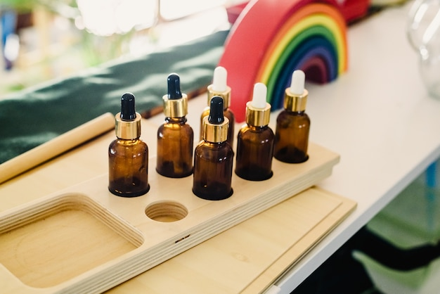 Material for the sensory classroom of a montessori school isolated without anyone