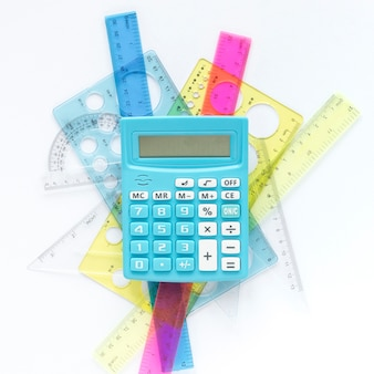 Math colourful rulers supplies and calculator