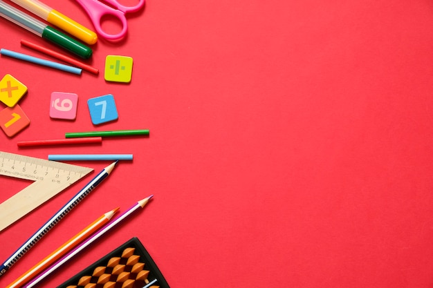 Math concept: colorful pens and pencils, number, calculating sticks, copy space