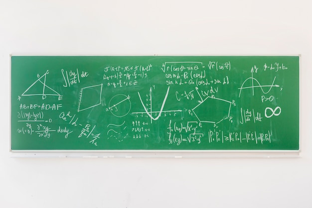 Math formulas on chalkboard in classroom