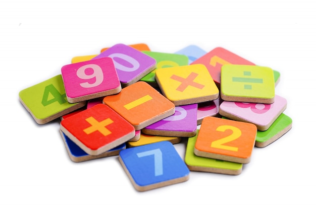Math number colorful on white background.
