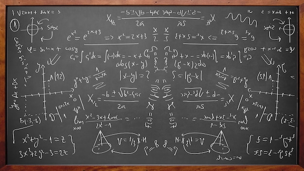 Формулы математической физики на доске с деревянной рамкой