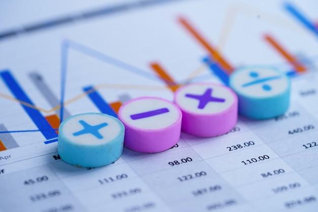 Math symbols charts graphs spreadsheet.