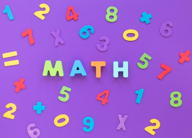 Math word and colourful numbers flat lay