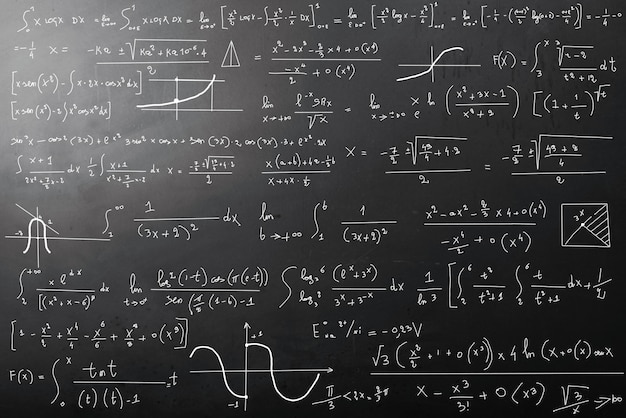 Mathematical calculations on blackboard