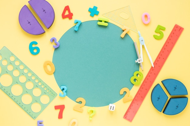 Mathematics with numbers and school materials copy space