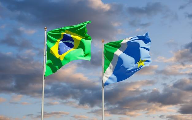 Мату-гросу-ду-сул государственный флаг бразилии. 3d изображение