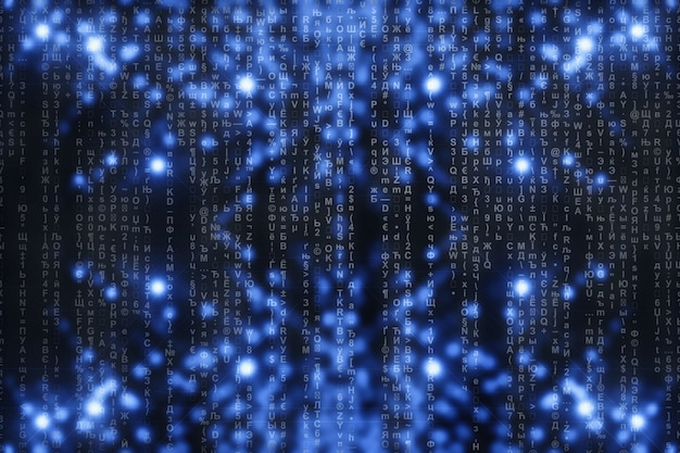 Matrix on blue digital . characters fall down. stream symbols. shiny virtual reality with copyspace. sparkle backdrop. complex algorithm. falling letters and numbers. hacking computer.